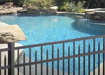 aliminum fence around pool and backyard
